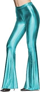 IWEMEK Women Shiny Metallic Flare Bell Bottom Bootcut Palazzo Leggings 70s Disco Wide Leg Pants Slim High Waist Yoga Trousers