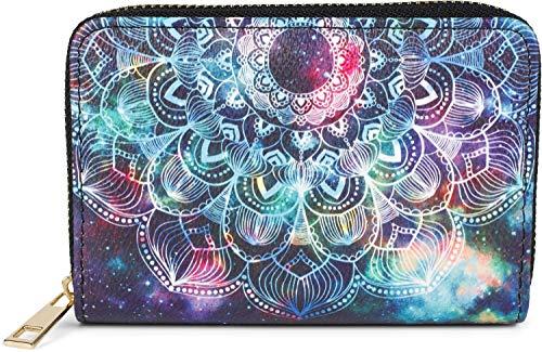 styleBREAKER Damen Kleine Geldbörse mit Bunte Mandala Ornament Muster, Ethno Style, Reißverschluss, Portemonnaie 02040149, Farbe:Schwarz-Türkis-Violett
