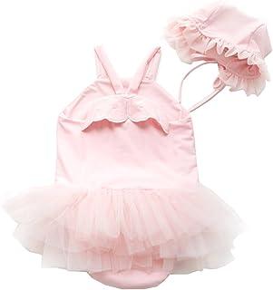 YAO Baby Girl Swimwear&Hat 2 Pieces Set Swimsuit Princess Skirt Angel Wing Suit