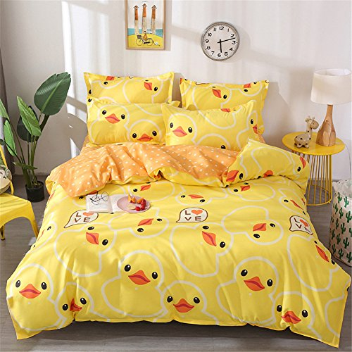 Morbuy Duvet Cover Bedding Set Non Iron Duck Rabbit Mermaid Cat Dog Whale Cartoon Animal Print Style, 2 x Pillowcases 1 x Quilt Case for Kids Child Teens Single Double King Size Bed, Machine Washable