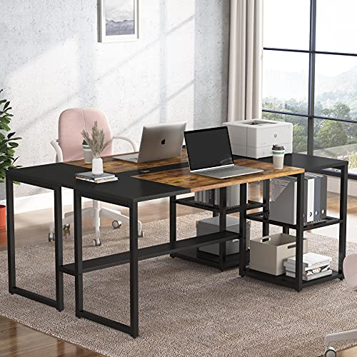 Tribesigns Two Person Desk, 70.87  Double Computer Desk with Shelve, Large Double Workstation Desk for Home Office Study Writing Table