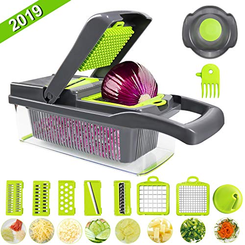 Multifunction Mandoline, Vegetable Fruit Choppers Slicer Onion Dicer, Manual Vegetable Cutter Julienne Grater with Container & Handguard, Household Salad Maker, Kitchen Chippers, Include Clean Brush