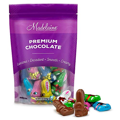 Madelaine Premium Milk Chocolate Long-eared Easter Baby Rabbits Wrapped In 6 Different Color Matte Italian Foils - 1/2 LB by The Madelaine Chocolate Company