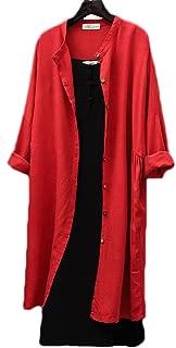 Women's Solid Color Cotton Linen Button Down Shirts Long Cardigan Coat