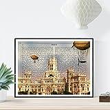 Nacnic Lámina Ciudad de Madrid. Estilo Vintage. Ilustración, fotografía y Collage con la Historia DE Madrid. Poster tamaño A4 Impreso en Papel