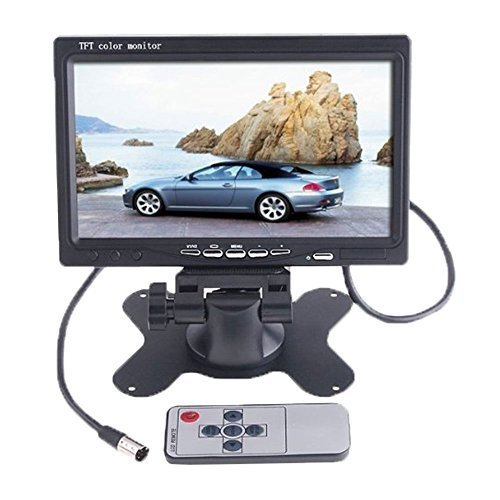 BW HD BW7MY 7-inch Car Rear View LCD Monitor supporting High Resolution 800 x 480 Pixels with Stand, Remote, Rotating Screen and 2 AV Inputs