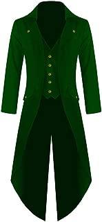 Hestenve Mens Gothic Tailcoat Jacket Steampunk VTG Costume Victorian Long Trench Coat