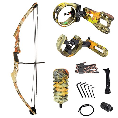 iGlow 55 lb Autumn Camouflage Camo Archery Hunting Compound Bow with Premium Kit 175 150 80 50 40 lbs Crossbow