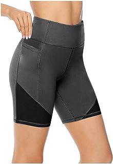 MINGE Women Shorts Athletic Sport Yoga Solid Mid Thigh Stretch Cotton Span High Waist Active Short Leggings