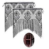 ZeeDix 2 Pcs Halloween Lace Skull Window Curtain- Black Tassel Door Curtain for Halloween Home Party Decorations, Halloween Party Supplies
