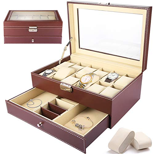 SaiXuan Caja Para Relojes,De 2 Capas,Caja de Reloj de 12 Ranuras Con un Cajón, Tapa de Cristal, para Anillos, Pulseras, Idea de Regalo,Cuero Sintético
