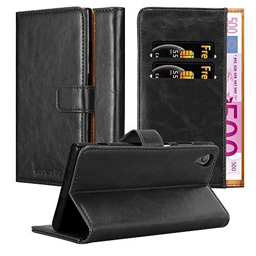 Cadorabo Hülle für Sony Xperia XA1 Plus - Hülle in Graphit SCHWARZ – Handyhülle im Luxury Design mit Kartenfach & Standfunktion - Hülle Cover Schutzhülle Etui Tasche Book