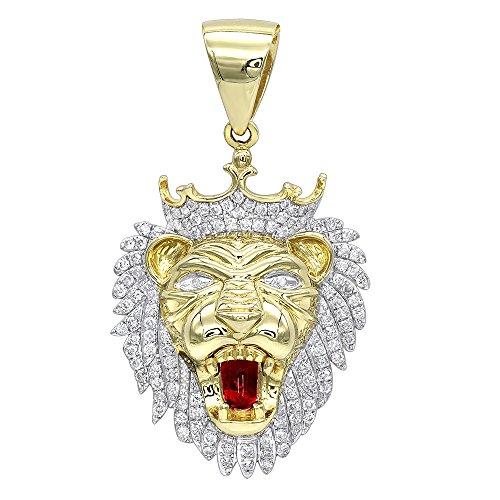 Men's 10K Solid Gold Diamond King Lion Head Pendant 1.2ctw (Yellow Gold)