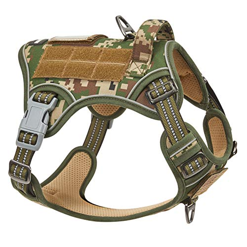 BUMBIN Tactical Dog Harness for Medium Dogs No Pull, Famous TIK Tok No Pull Dog Harness, Fit Smart Reflective Pet Walking Harness for Training, Adjustable Dog Vest Harness with Handle Forest Camo M