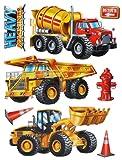Unbekannt 8 TLG. Set: XL 3-D Wandtattoo / Fensterbild / Sticker - Bagger Baustelle - wasserfest - selbstklebend Pop-Up Aufkleber Wandsticker - Kran Baustellenfahrzeuge ..