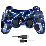 Nuilhpn PS3 Controller Wireless Dual Shock Compatible with Sony Playstation 3(Flash Blue).