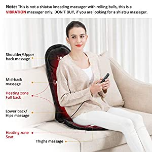 Snailax Memory Foam Massage Seat Cushion – Back Massager with Heat,6 Vibration Massage Nodes & 3 Heating Pad, Massage Chair Pad for Home Office Chair or Car Seat