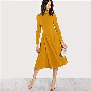 MEILINVREN Kleider,Elegante Midi Kleid Office Damen Mock Neck Plissee Eine Linie Frauen Langarm Herbst Party Dress Trend