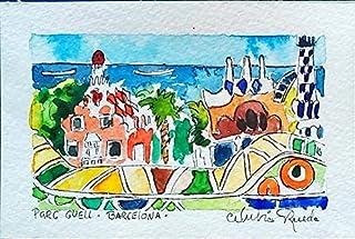 Paisaje a la Acuarela - Parc Guell Barcelona por Nubia Rueda