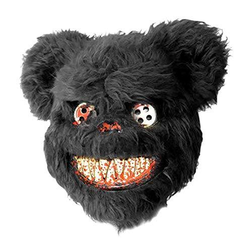 XWYWP Mscara de Halloween con sangre de osito de peluche mscara mscara de miedo mscara Halloween rendimiento accesorios moda Halloween suministros negro