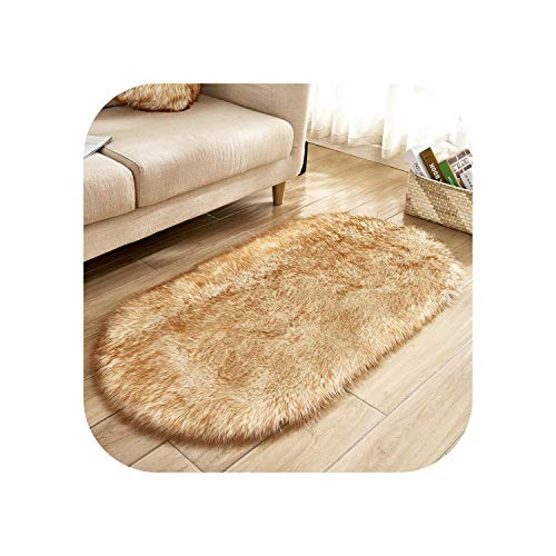 Oval Artificial Sheepskin Carpet Washable Seat Pad Fluffy Rugs Hairy Wool Soft Warm Carpets -White Yellow-50x80cm