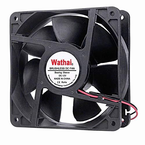 Wathai 2Pin 120mm x 38mm 12V DC Brushless Cooling Fan High Airflow Cooler Fan
