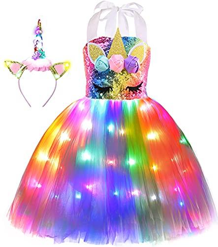 Viyorshop Girl Unicorn Costume LED Light Up Unicorn Tutu Dress for Halloween Party...