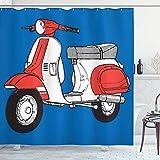 CAIQ 48X72inch Funky Cortina de Ducha Scooter Motocicleta Retro Vintage Vespa Soho Ruedas Roma Impresión gráfica Tela Tela Baño Decoración Set con Ganchos bermellón