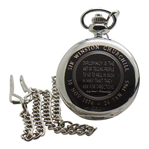 Silberne Taschenuhr mit Autogramm von Winston Churchill, Geschenk in Holzbox, witzige Diplomacy