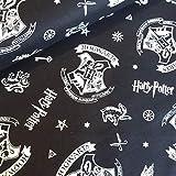 Harry Potter Hogwarts-Logo, schwarzer Baumwollstoff,