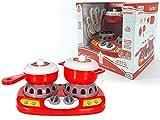 Fornello con Pentole e Accessori Utensili Cucina Giocattolo per Piastra Chef Bambini fornelli con Suoni e luci Gioco h.20x23x16 cm