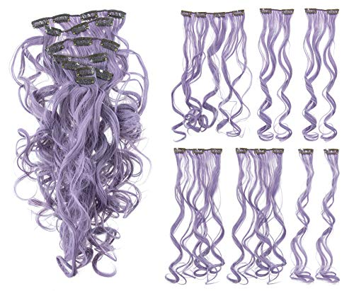 SWACC 7 Pcs Full Head Party Highlights Clip on in Hair Extensions Colored Hair Streak Synthetic Hairpieces (20-Inch Curly, Lavender)