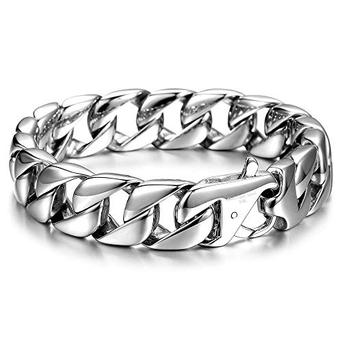 Trendsmax 15mm Curb Cuban Heavy Big Bracelet for Mens Women 316L Stainless Steel Link Chain Bangle Fits 9.5inch Wrist