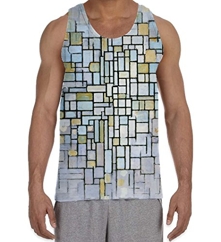 Piet Mondrian Composition in Blue and Grey Men's All Over Graphic Vest Tank Top (2XL, White)