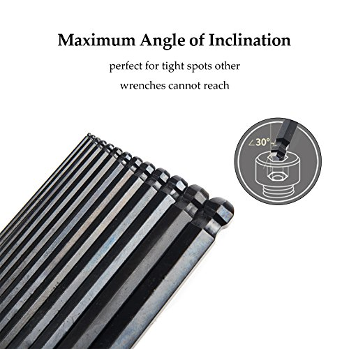 CO-Z Hex Key Allen Wrenches, 26 Pcs Metric/Inch Ball End Long Hex Tool Set, Folding L Keys with Knotched End, Complete L-Wrench Tools Kit for Turning Screws with Foldable Case