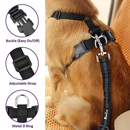 SlowTon Dog Harness for Car, Pet Seat Belt Harness with Car Vehicle Safety Seatbelt Adjustable Vest Dog Accessories for Small, Medium and Large Dogs Travel Walking .(Purple, Large)
