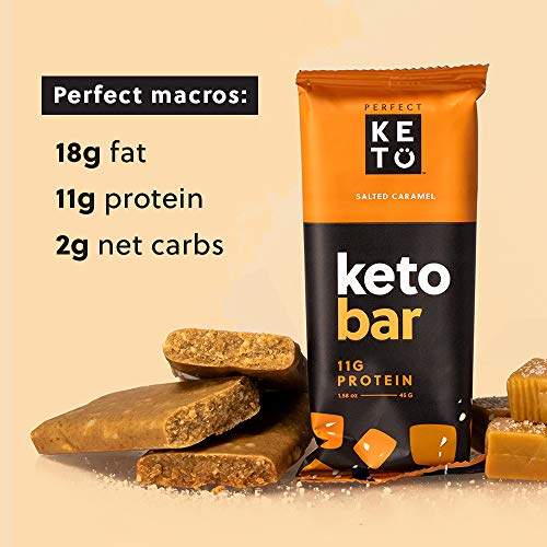 Perfect Keto Bars - The Cleanest Keto Snacks with Collagen and MCT. No Added Sugar, Keto Diet Friendly - 3g Net Carbs, 19g Fat,11g protein - Keto Diet Food Dessert (Salted Caramel, 12 Bars) 7