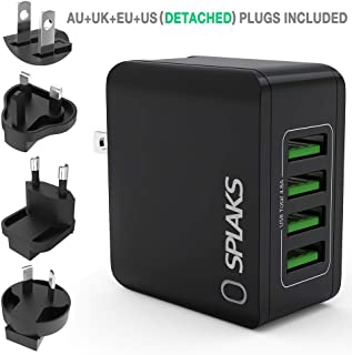 SPLAKS USB Charger, Universal International USB Wall Charger Plug UK/EU/US/AU 4 Ports Rapid 24W/5V 4.8A Multiple USB Charger with Multi-Protections Fast Charging Technology-Black
