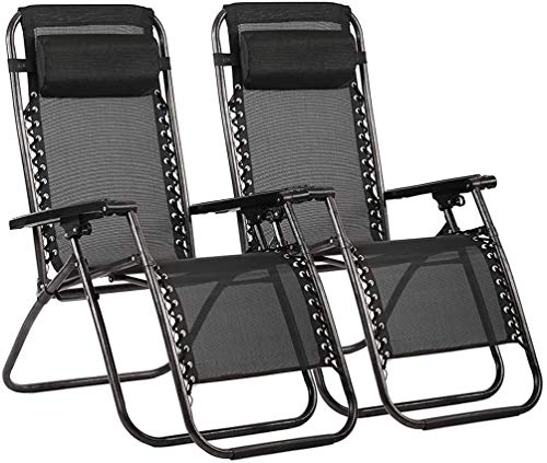 groundlevel Black Zero Gravity Chairs Set of 2 Lounge Reclining Chairs With a Detachable Head Pillow for Extra Comfort for Gardens, Patios,Balconies and Camping