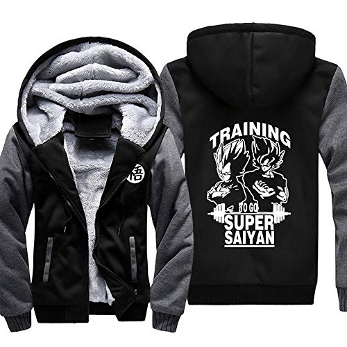 Hoodie Veste Homme Sweater- Dragon Ball Monkey King Imprimer Casual Hiver Chaud Zip Brochage Capuche Manches Longues Sweat G-L