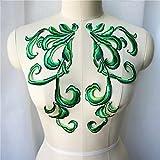 ZYING 2 stücke grüne Stoff Appliques nähen Eisen auf Patches bestickter Kragen für hochzeitskleid Kleid kostüme Dekoration DIY