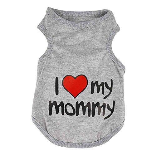 Vestiti Svegli I Love Mummy del Cane di Animale del Gatto Abbigliamento Maglia di Estate T-Shirt Color Grigio Size Small