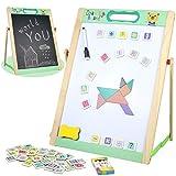 Caballete doble cara madera magnetica infantil con pizarra blanca letras y numeros tangram magneticos puzzle tablero de dibujo juguete de aprendizaje regalos juguetes educativos 3 4 5 años niños niñas