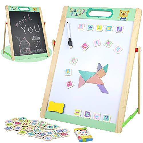 Pizarra Infantil Magnética Juguetes Montessori Puzzle de Madera Caballete Doble Cara con Pizarra Blanca Letras y Numeros Puzzle Tablero de Dibujo Juegos Educativos Regalos para Niños Niñas 3 4 5 Años