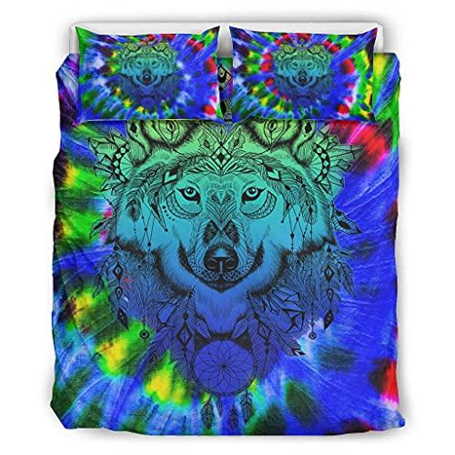 Twelve constellations Duvet Set Wolf Blue Soft Lightweight 3 Piece Duvet Cover Set for Girls Bedroom White 229 x 229 cm