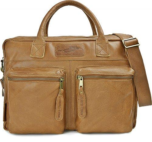 REBELS & LEGENDS, Leder Unisex Aktentaschen, Ledertaschen, Laptoptaschen, Notebooktaschen, Henkeltaschen, 40,5 x 30 x 16 cm (B x H x T), Farbe:Camel