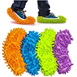 Haichen 4 pares de zapatillas de microfibra multifunción de 24 cm x 12 cm para limpieza en casa, 4 colores