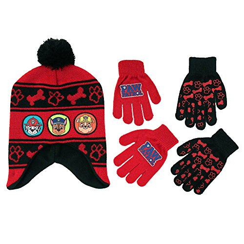 Nickelodeon Little Boys Paw Patrol Character Hat and 2 Pairs of Mittens or Gloves Cold Weather Set, Age 2-7 (Little Boys Age 4-7 Hat & 2 Pair Gloves Set, Red)
