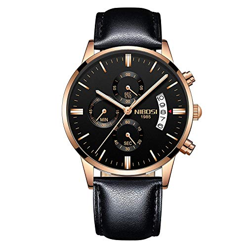 NIBOSI - Reloj de Pulsera Deportivo para Hombre, de Cuarzo, Resistente al Agua, con Tres Ojales, Correa de Piel de 6 Pines, Color Negro