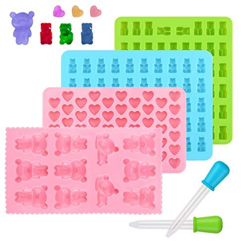 Süßigkeit Silikon Formen Ninonly Gummibärchen-Formen mit Pipetten 4 Teiliges Set Pralinenformen Herz Stern Bär Formen für Kinder
